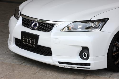 フロントハーフ【エクスクルージブ ゼウス】レクサス 【 GLMRS LINE 】 フロントハーフスポイラー(LED付属) 未塗装品 | LEXUS CT200h(ZWA10) 2011/1 - 2013/12