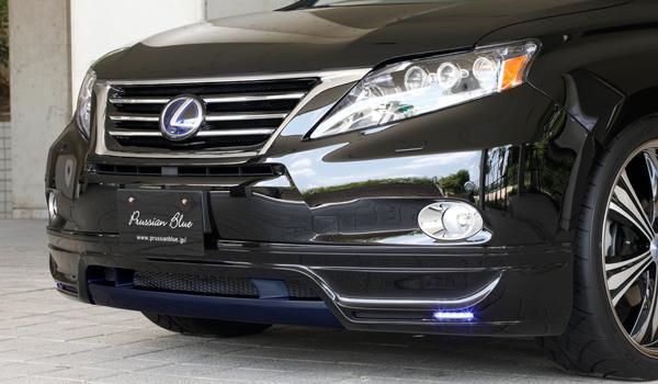 フロントハーフ【エクスクルージブ ゼウス】レクサス 【 LUV LINE 】 フロントハーフスポイラー(LED付属) 077塗装済 | LEXUS RX RX450h (GYL1#W) 前期 2009/4 - 2012/3