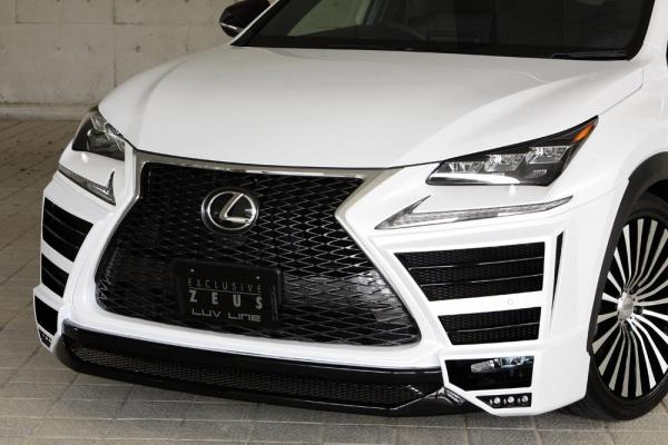 フロントハーフ【エクスクルージブ ゼウス】レクサス 【 LUV LINE 】 フロントハーフスポイラー(LEDx6ヶ) 未塗装 | LEXUS NX NX200t(AGZ1#) NX300h (AYZ1#) 2014/7 -