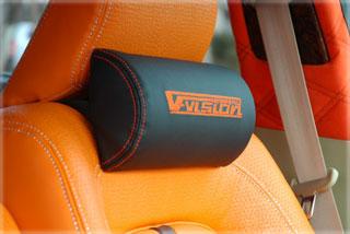 汎用   ヘッドレスト【ブイビジョン】V-VISION ネックパット NEW V-VISIONロゴ タイプ 2個入り 刺繍カラー:シルバー