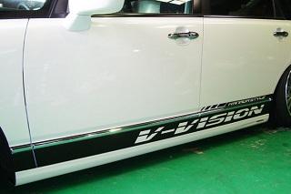 汎用 | ステッカー【ブイビジョン】オリジナルサイドデカール 左右セット ラメバージョン【軽自動車サイズ】 ブラック