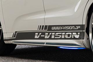 汎用 | ステッカー【ブイビジョン】オリジナルサイドデカールタイプ2 左右セット ラメバージョン【軽自動車サイズ】 ブラック