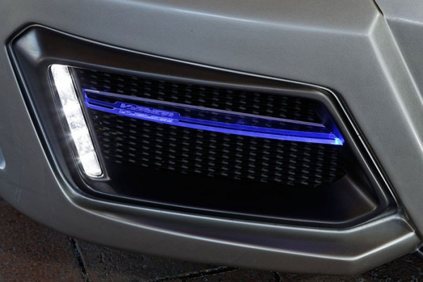 フロントバンパー カバー【ブイビジョン】レクサス LEXUS SC430 LEDアクリルフィン(フロント左右セット) ホワイト