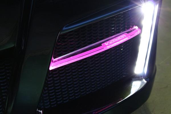 フロントバンパー カバー【ブイビジョン】ワゴンRスティングレーMH23 LEDアクリルフィン(フロントバンパー用) ピンク