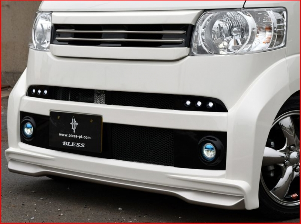 N BOX   フロントバンパー【ブレス】N BOX JF1/2 フロントバンパースポイラー 塗装済み品 ポリッシュドメタル・メタリック+デイライトLED