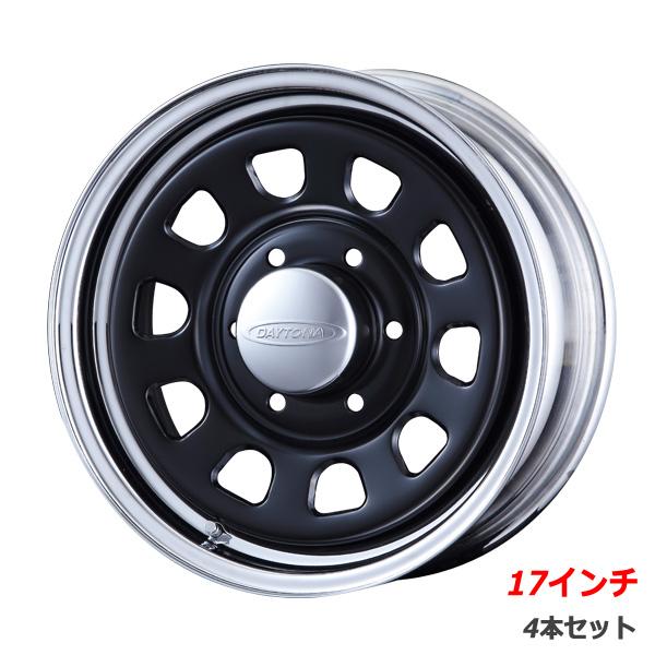 【4本組】Daytona-RS 17インチ×6.5J+38 6穴 クロームリム ブラックディスク 4本セット