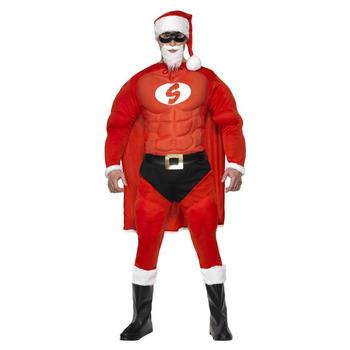 【あす楽12時まで】 【送料無料】 スーパーフィットサンタ 大人用 M 【 コスプレ 衣装 仮装 大人 メンズ クリスマス コスチューム おもしろ サンタ 笑える おもしろコスチューム 男性用 面白 サンタコスチューム ウケる 爆笑 】