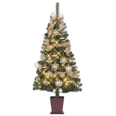 クリスマスツリー セットツリー マドンナ 四角ポット付 120cm LEDライト付き 【 クリスマス 飾り 装飾 】