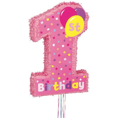 【取寄品】 ピニャータ 1stバースデーガール 【 パーティーグッズ 1歳誕生日 くす玉 イベント用品 パーティー用品 バースデーパーティー ハーフバースデー ファーストバースデー 誕生日パーティー 】