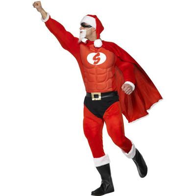 【送料無料】 スーパーフィットサンタ 大人用 L 【 コスプレ 衣装 仮装 大人 メンズ クリスマス コスチューム おもしろ サンタ 男性用 サンタコスチューム 笑える ウケる おもしろコスチューム 面白 爆笑 】