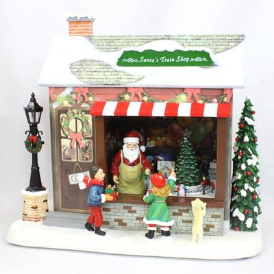 【送料無料】 LED付オルゴール トレインショップ 【 パーティーグッズ 飾り 雑貨 オルゴール プレゼント クリスマス飾り クリスマスパーティー デコレーション 装飾 置物 オブジェ 】