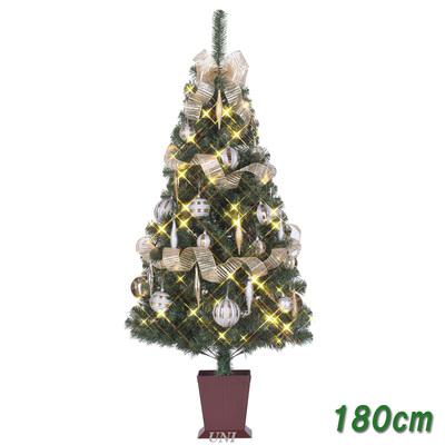 【送料無料】 ! クリスマスツリー セットツリー ベール 四角ポット付 180cm LEDライト付き 【 クリスマス 飾り 装飾 】