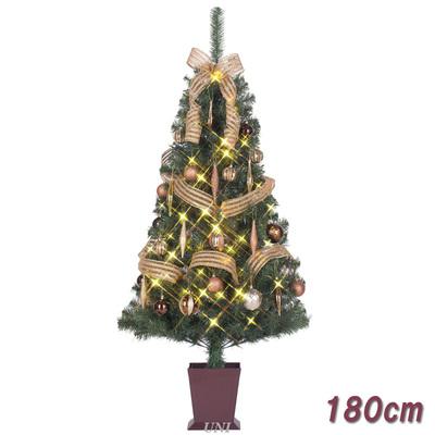 【送料無料】 ! クリスマスツリー セットツリー ハーモニー 四角ポット付 180cm LEDライト付き 【 クリスマス 飾り 装飾 】