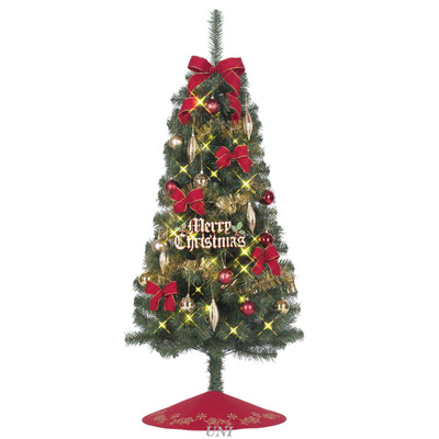 クリスマスツリー セットツリー クリスマスJOYレッド ツリースカート付 150cm LEDライト付き TRS800 【 飾り クリスマスツリー ライト 装飾 】