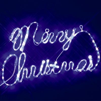 【取寄品】 SMDテープライトメリークリスマスサインホワイトブルーLED 【 イルミネーションライト クリスマスパーティー 平面 クリスマス飾り 装飾 置物 壁掛け オブジェ デコレーション パーティーグッズ モチーフライト 電飾 雑貨 】