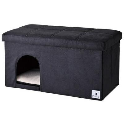 【送料無料】 【取寄品】 Petio(ペティオ) Porta ドッグハウス&スツール ブラック ワイド 【 犬用品 ペットグッズ イヌ 猫用品 いぬ 寝具 ネコ ペット用品 カドラー ベッド ねこ 】