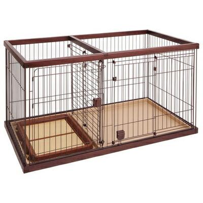 【送料無料】 【取寄品】 Petio(ペティオ) トイレのしつけが出来るドッグルームサークル ブラウン ワイド 【 中型犬用 犬用品 ペットグッズ イヌ いぬ ペット用品 】