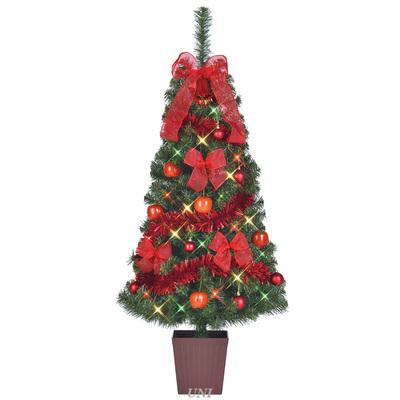 クリスマスツリー セットツリー ビッグアップル 四角ポット付 135cm LEDライト付き 【 飾り クリスマスツリー ライト 装飾 】