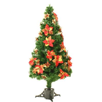 【送料無料】 クリスマスツリー Funderful 150cm光ファイバーツリー(ポインセチア/赤・金) 【 クリスマス 飾り 装飾 ライト 】