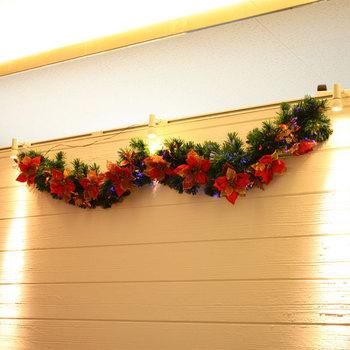 200cmクリスマスガーランド(光ファイバー/プレミアムポインセチア) 【 飾り クリスマスパーティー 電飾 スワッグ 雑貨 デコレーション 装飾 パーティーグッズ クリスマス飾り 】