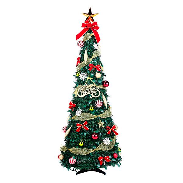 【クリスマスパーティーグッズ】フォールディングレッドツリー150cm1台 YIGXM98651