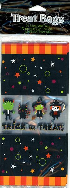 お菓子やプレゼントのラッピングに使えるクリアバッグ ハロウィーン ビニール素材 豊富な品 ゴースト フランケンシュタイン ウィッチ ブラックキャット 店舗 ハロウィン 包装袋 20枚入り パーティーバッグ マチなし 海賊 ロング 魔女 トリックオアトリート 10点までネコポスOK フランケン タイニーテラー 黒猫