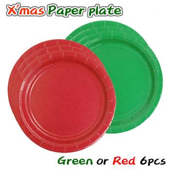クリスマスカラーのペーパープレート パーティーグッズ 子ども会 食事会 生誕祭 使い捨て食器 簡易食器 ペーパー皿 クリスマス 紙皿 レッド アメリカ製 グリーン 売り出し 赤 2点までネコポスOK 希望者のみラッピング無料 7インチ 緑 17.8cm 紙製 6枚入り テーブルウェア