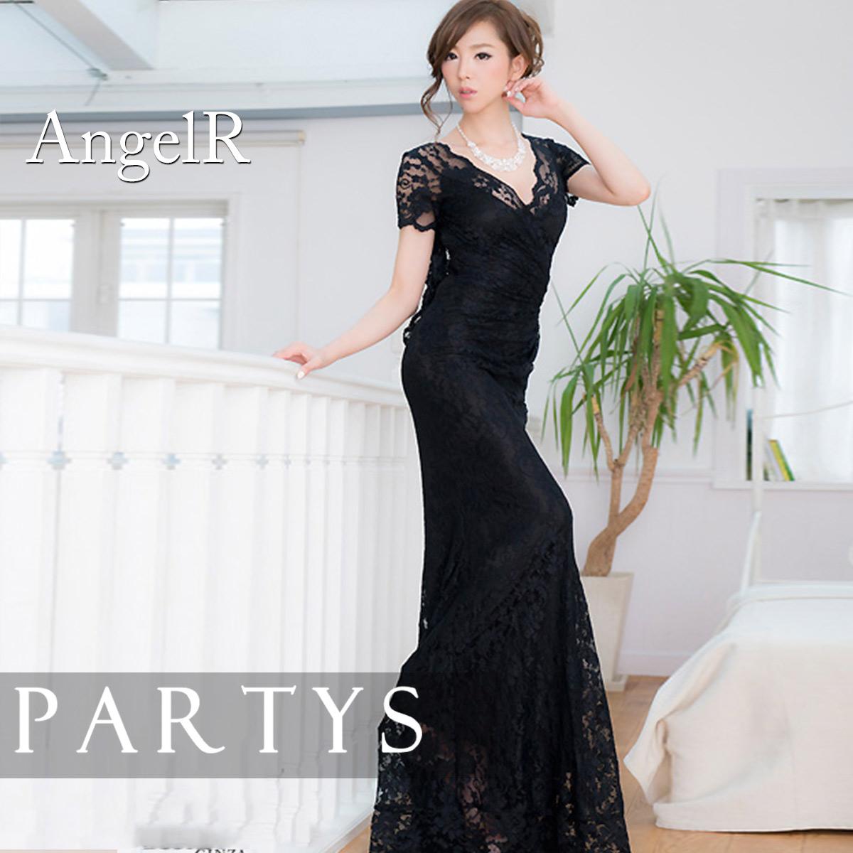 34c86210cebd2 送料無料       Angel R   背中ビジュー レース ドレス ロングドレス ...