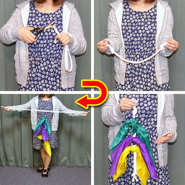 ◆マジック・手品◆ロープの復活と抜けるシルク(特上品)◆R7213