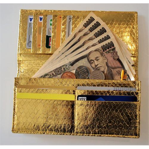 ダイヤモンドパイソン・ゴールド長財布