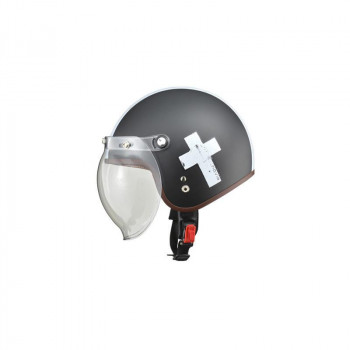 リード工業 LEAD NOVIA(ノービア) バブルシールド付スモールロージェットヘルメット クロスブラック レディースフリーサイズ【割引不可・返品キャンセル不可】