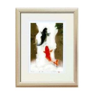 14821 吉岡浩太郎「開運」風水額(大衣) 「夫婦滝昇り鯉」 銀【割引不可・返品キャンセル不可】
