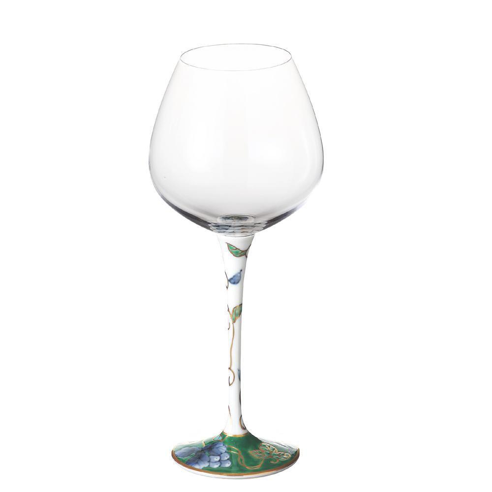 有田焼 福泉窯 有田浪漫 ハイレッグワイングラス 大 染錦葡萄 グリーン【割引不可・返品キャンセル不可】