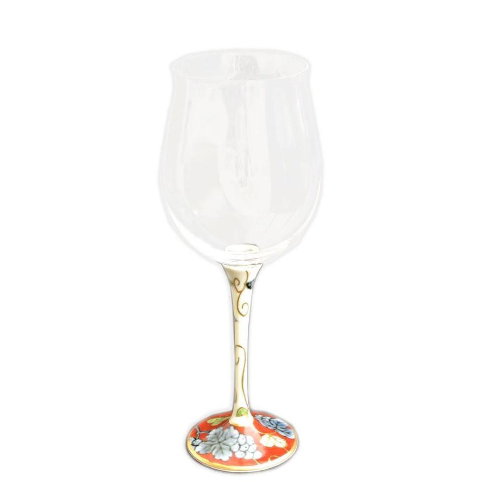 有田焼 福泉窯 有田浪漫 ハイレッグワイングラス 小 染錦葡萄 レッド【割引不可・返品キャンセル不可】