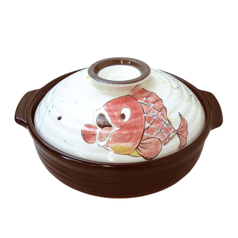 日本製 セラミック加工IH土鍋(IH・直火両用) お魚 赤鯛 9号 3748-1855【割引不可・返品キャンセル不可】
