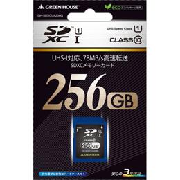 GREENHOUSE UHS-I対応 CLASS10 転送速度78MB/s SDXCカード 256GB GH-SDXCUA256G【取り寄せ品キャンセル返品不可、割引不可】