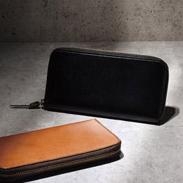 手塗りオイルレザー ラウンド長財布 ブラック【取り寄せ品キャンセル返品不可、割引不可】