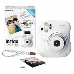 富士フイルム INSTAXMINI25-WHT インスタントカメラ instax mini 25 『チェキ』 ホワイト 純正ハンドストラップ付き【取り寄せ品キャンセル返品不可、割引不可】