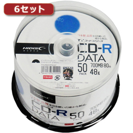 HI DISC 【6セット】 CD-R(データ用)高品質 50枚入 TYCR80YP50SPX6【取り寄せ品キャンセル返品不可、割引不可】