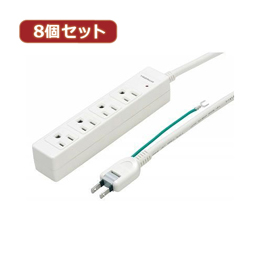 YAZAWA 【8個セット】3Pマグネットタップ Y02JKP405WHX8【取り寄せ品キャンセル返品不可、割引不可】