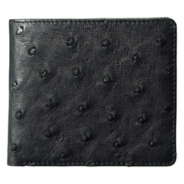 紳士用オーストリッチ財布 ブラック【割引サービス不可、取り寄せ品キャンセル返品不可、突然終了欠品あり】