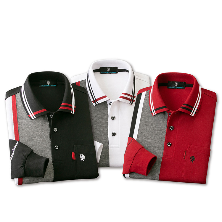【大感謝価格 】SALOON EXPRESS サルーンエクスプレス 切替長袖ポロシャツ3色組 AS-0011 M/L/LL ブラック系+ホワイト系+ワイン系の同サイズ3色組