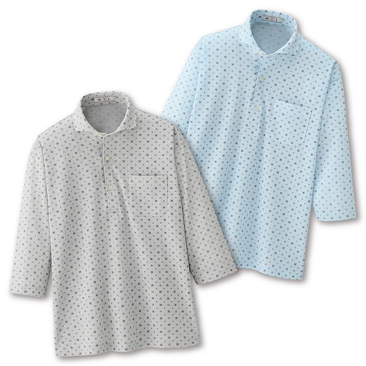 【大感謝価格 】mij エムアイジェイ 小紋柄鹿の子7分袖シャツ2色組 IW-0023 M/L/LL グレー系サックス系同サイズ2色組