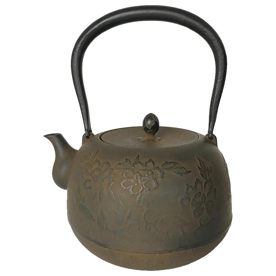 【大感謝価格】 南部鉄器 鉄瓶 牡丹 1.8L 【返品キャンセル不可】