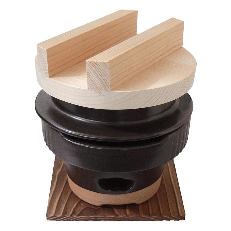 【大感謝価格】日本製 羽釜ごはん鍋 羽釜 1合ごはん炊きコンロセット (敷板付) 6000-1622【寄せ品、返品キャンセル不可】