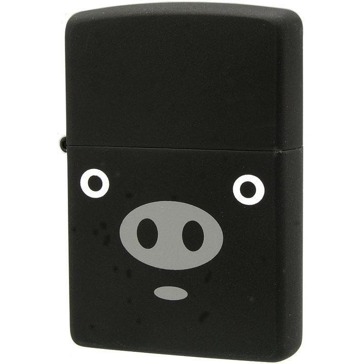 【大感謝価格】ZIPPO(ジッポー) オイルライター アニマル ブタ ブーブー 黒 63320298【お寄せ品、返品キャンセル不可】