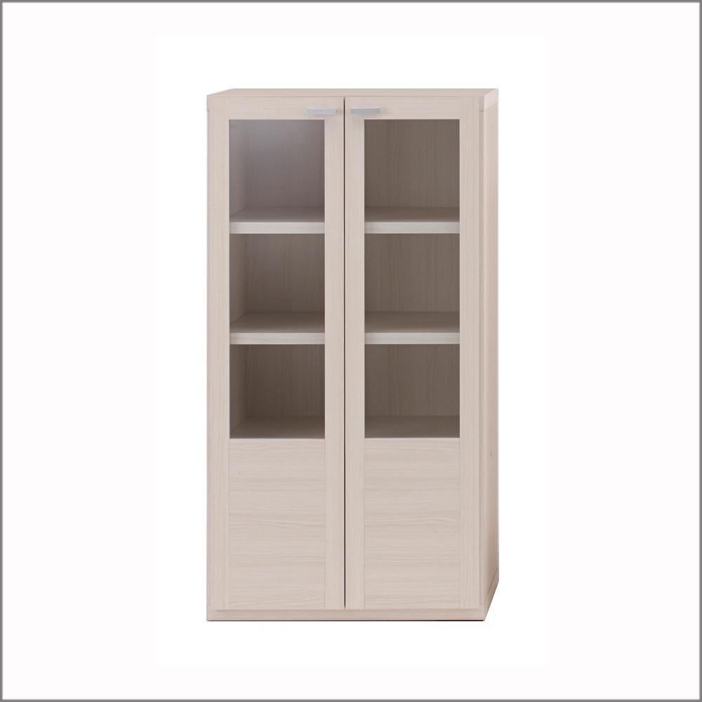 【大感謝価格】 フナモコ 棚 ガラス戸 ホワイトウッド柄 GFS-60 【返品キャンセル不可】