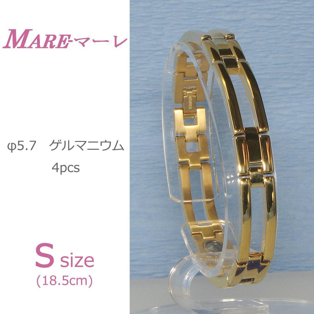 【大感謝価格】MARE(マーレ) ゲルマニウム4個付ブレスレット GOLD/IP ミラー 111G S (18.5cm) H1126-06S【お寄せ品、返品キャンセル不可】