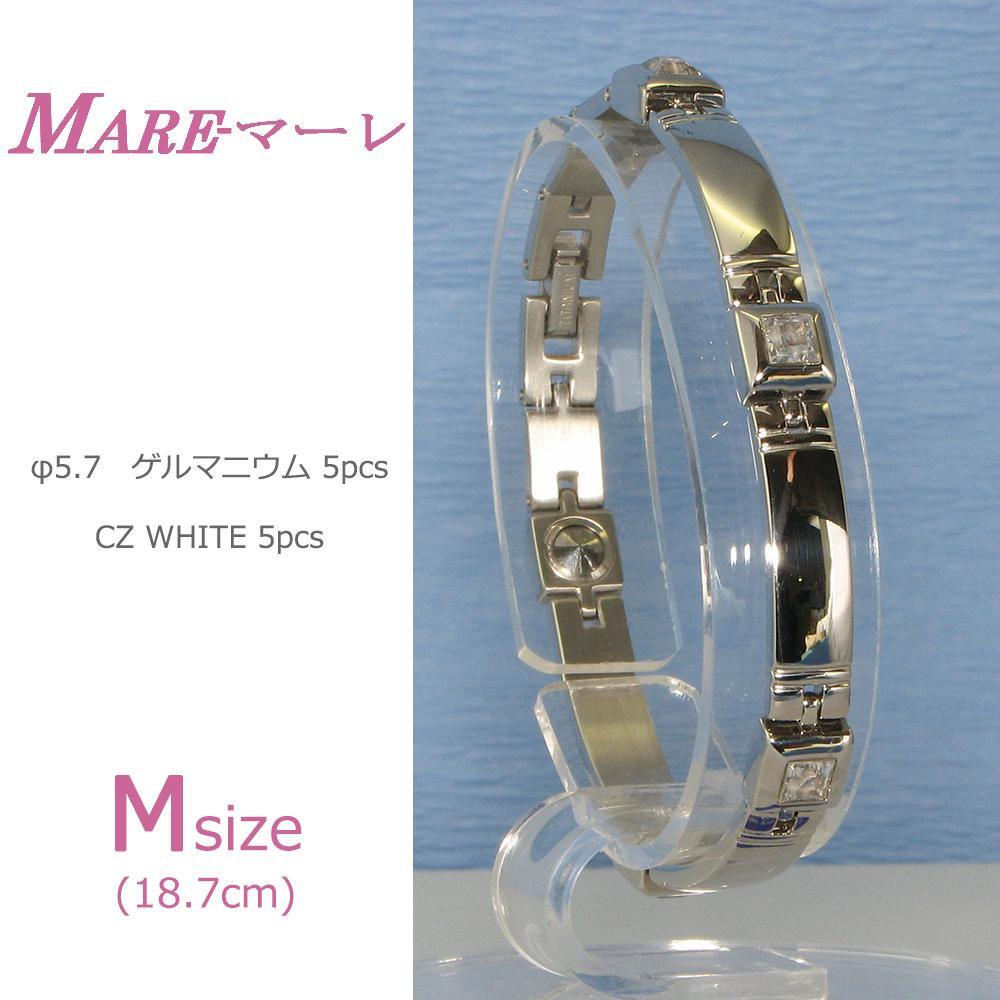 【大感謝価格】MARE(マーレ) スワロフスキー&ゲルマニウム5個付ブレスレット PT/IPミラー 115G M (18.7cm) H9271-07M【お寄せ品、返品キャンセル不可】