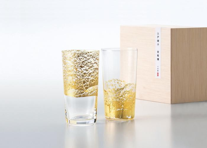 【メーカー直送・大感謝価格 】江戸硝子 金玻璃 きんはり G641-T79 冷酒杯吟醸揃え 134×117×66 冷酒杯吟醸(天空)130ml×1・冷酒杯吟醸(大地)130ml×1 2個セット 350シリーズ